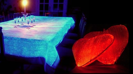 Lumigram luminous table cloths fiber optic fabric