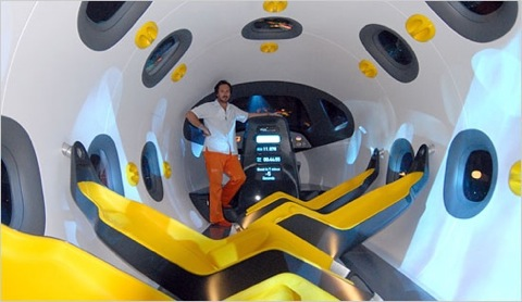 Marc Newson in mock up of Astrium space plane