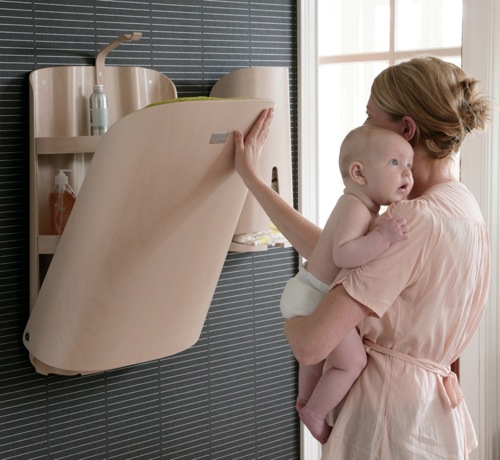 modern wall mounted baby changing station by ByBo design