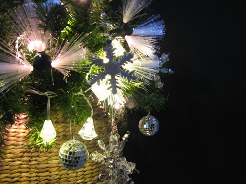 Christmas decoration green tan silver sparkle M2JL STUDIO