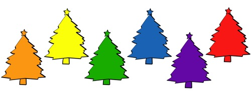 Christmas tree color palette orange yellow green cyan purple red