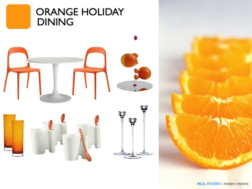 Christmas modern decoration inspiration orange white dining