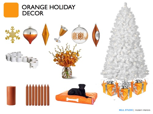 Christmas modern decoration inspiration orange white tree