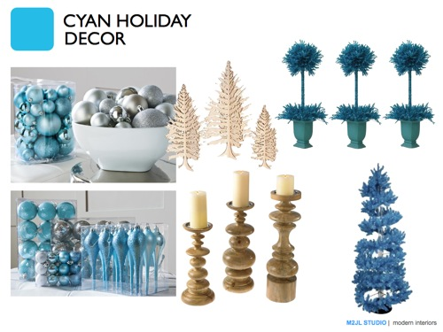 Christmas modern decoration inspiration blue cyan turquoise