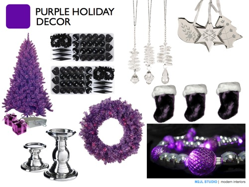 Christmas modern decoration inspiration purple black silver