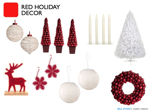 Christmas modern decoration inspiration red white