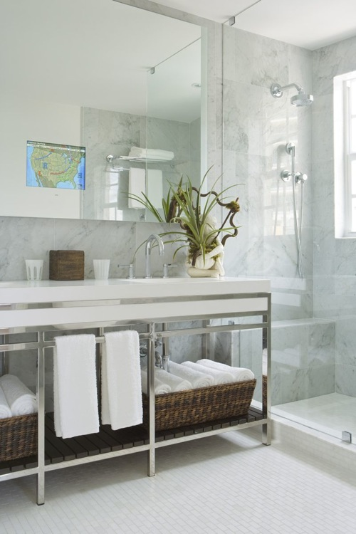 mirror tv hotel white bathroom modern classic white tiles brown baskets spa