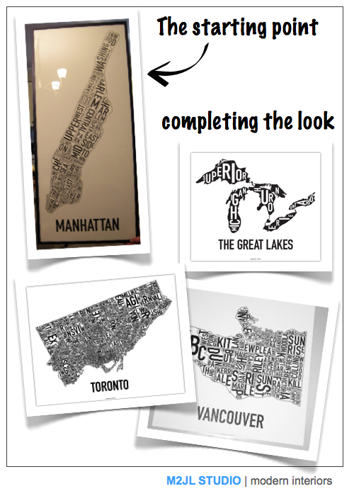 oak poster typography map manhattan, toronto vancouver, great lakes