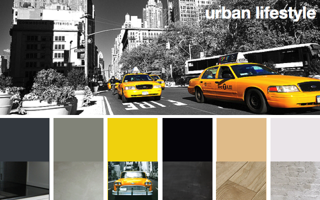 moodboard color story New York loft modern grey yellow