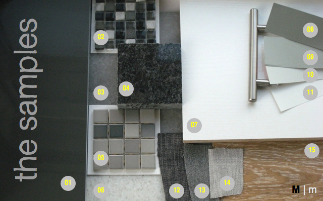 sample board tile floor backsplash condominium