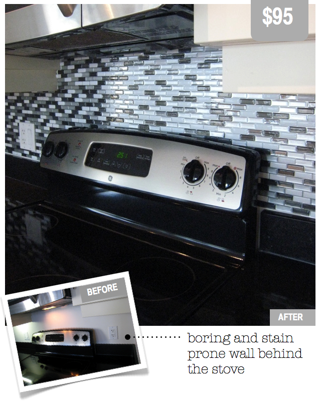 Smart Tile peel & stick back splash black and white kitchen modern