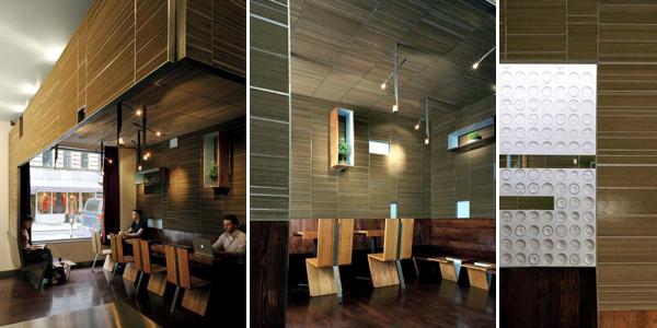 LTL Architects Ini Ani Coffee Shop in New York cardboard walls
