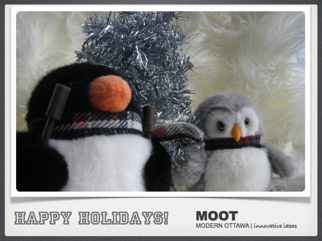 Merry Christmas Happy Hannukah Happy Kwanzaa Happy Holidays from Modern Ottawa penguin and owl