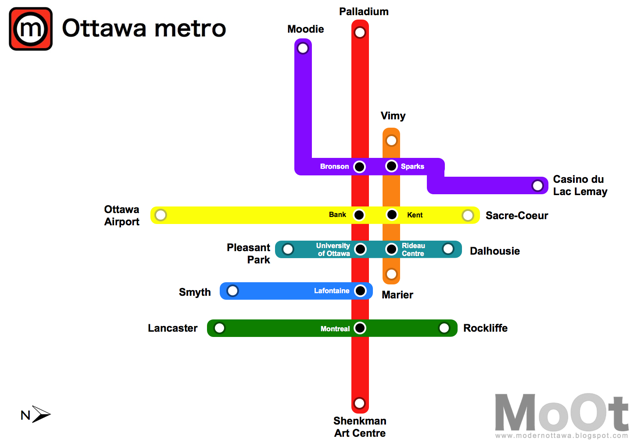 Ottawa Subway Map.Modern Ottawa A Metro Proposal For Ottawa Part 2
