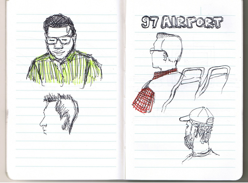 MJSketchbook | Urban Sketchers | Men in the Ottawa OC Transpo Bus #97