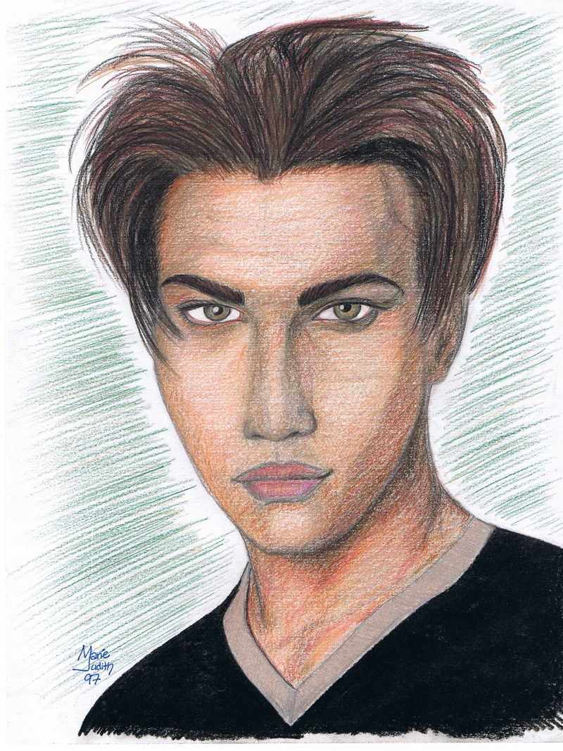 portrait boy band member colored pencils by Marie-Judith