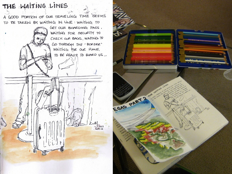 MJ LIKES TO DRAW | Urban Sketches | Las  Vegas | waiting line airport