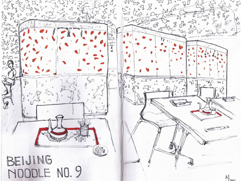 MJ LIKES TO DRAW | Urban Sketching - Las Vegas - Beijing Noodle No 9 Restaurant
