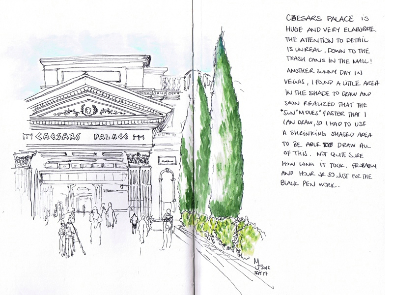 MJ LIKES TO DRAW | Urban Sketcher | Las Vegas - Caesars Palace