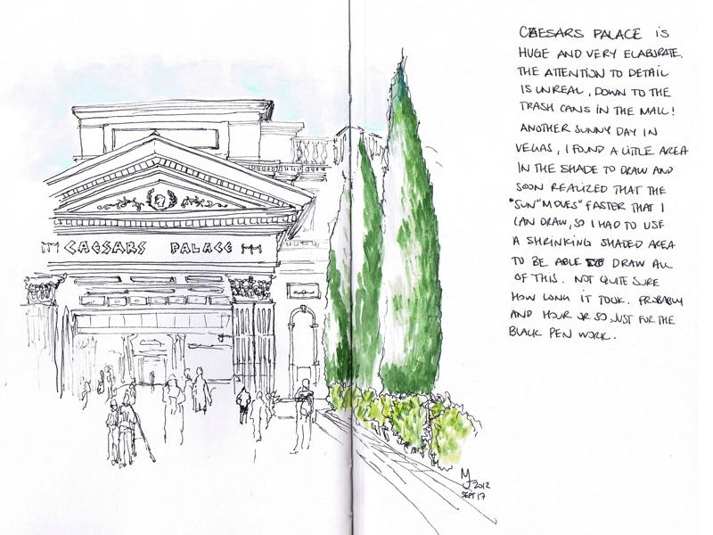MJ LIKES TO DRAW | Urban Sketcher | Las Vegas - Caesars Palace