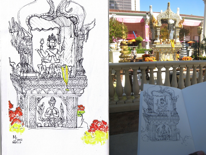 MJ LIKES TO DRAW | Urban Sketcher | Las Vegas Brahma Shrine