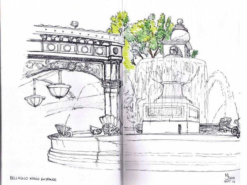 MJ SKETCHBOOK | Urban Sketcher - Las Vegas Bellagio Fountain