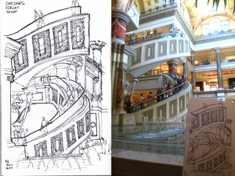 MJ SKETCHBOOK | Urban Sketcher - Las Vegas - Caesars Forum spiral escalator