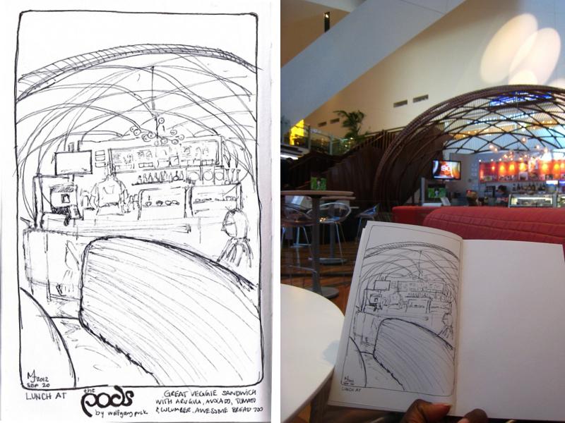 MJ SKETCHBOOK - Urban Sketcher - Las Vegas - The Pods by Wolfgang Puck