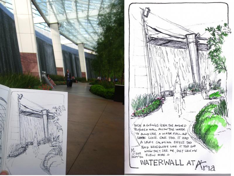 MJ SKETCHBOOK - Urban Sketcher - Las Vegas - Aria waterfalls
