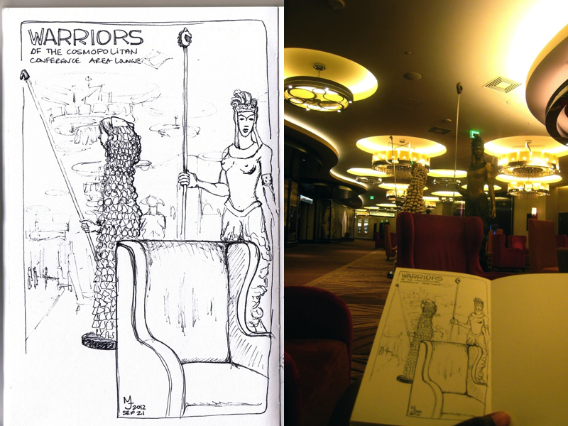 MJ SKETCHBOOK - Urban Sketching - Las Vegas The Cosmopolitan Earth Warriors
