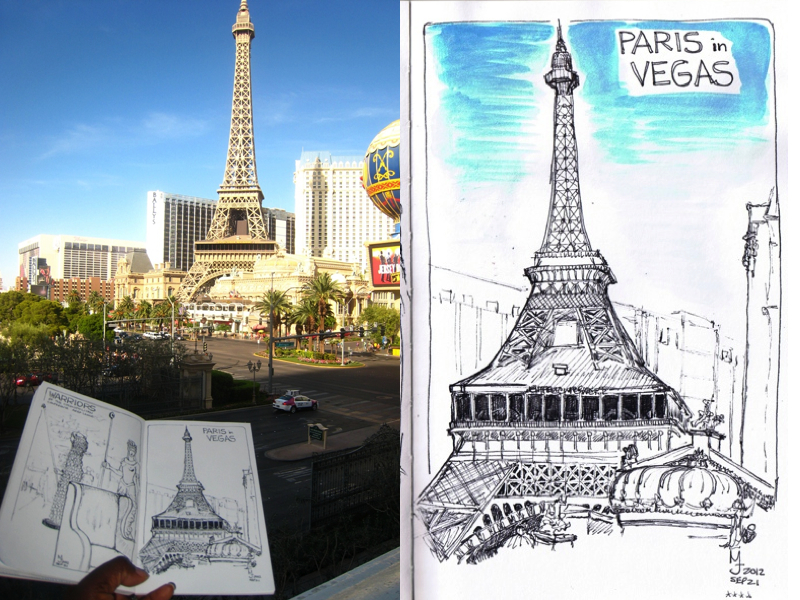 MJ SKETCHBOOK - Urban Sketcher - Las Vegas - Paris Eiffel Tower