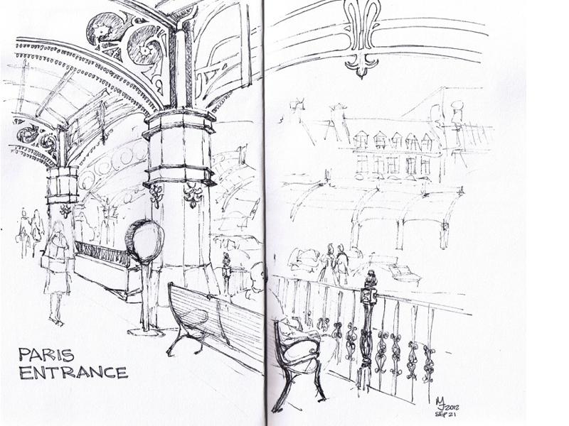 MJ SKETCHBOOK - Urban Sketcher - Las Vegas Paris Hotel