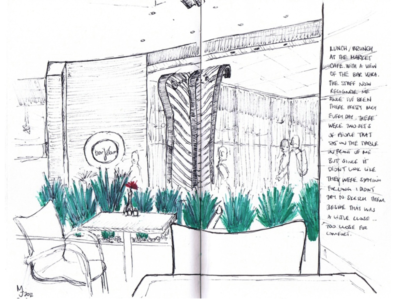 MJ SKETCHBOOK | Urban Sketching - Las Vegas bar Vdara from the market cafe