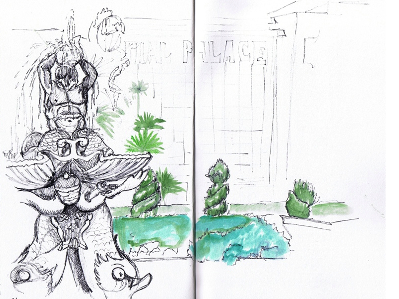 MJ SKETCHBOOK | Urban Sketching - Las Vegas water fountain Forum shop