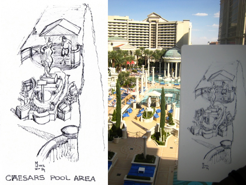 MJ SKETCHBOOK | Urban sketching - Las Vegas Caesars Palace pools