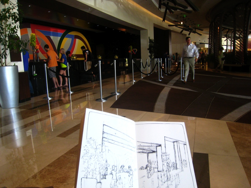 MJ SKETCHBOOK | Urban Sketch - Las Vegas - Vdara Lobby