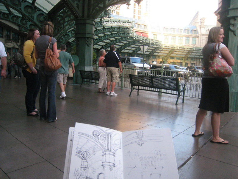 MJ SKETCHBOOK - Urban Sketcher - Las Vegas Paris Hotel