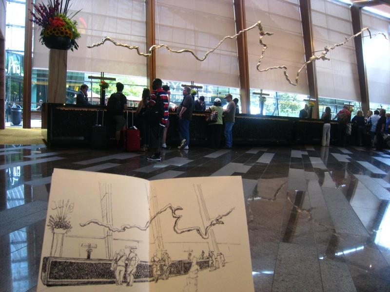 MJ SKETCHBOOK | Urban Sketching - Las Vegas Aria Hotel Lobby