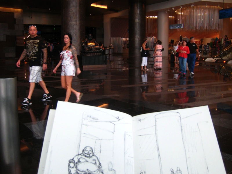MJ SKETCHBOOK | Urban sketching - Las Vegas : Laughing Buddha at the Aria hotel