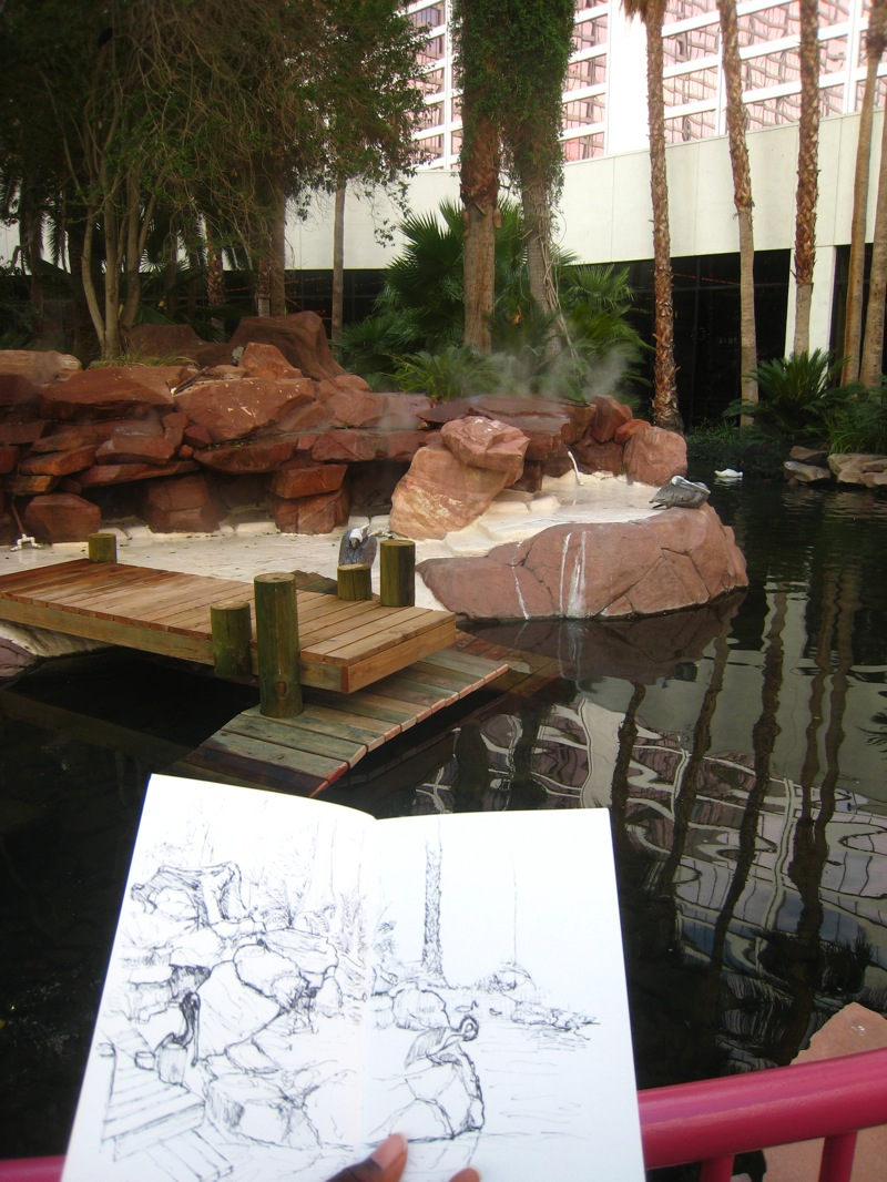 MJ SKETCHBOOK | Urban Sketching - Las Vegas Flamingo wildlife habitat Bugsy and Virginia