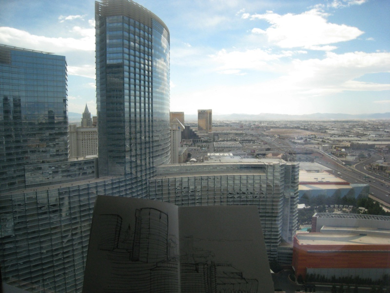 MJ SKETCHBOOK | Urban Sketching - Las Vegas Vdara room view