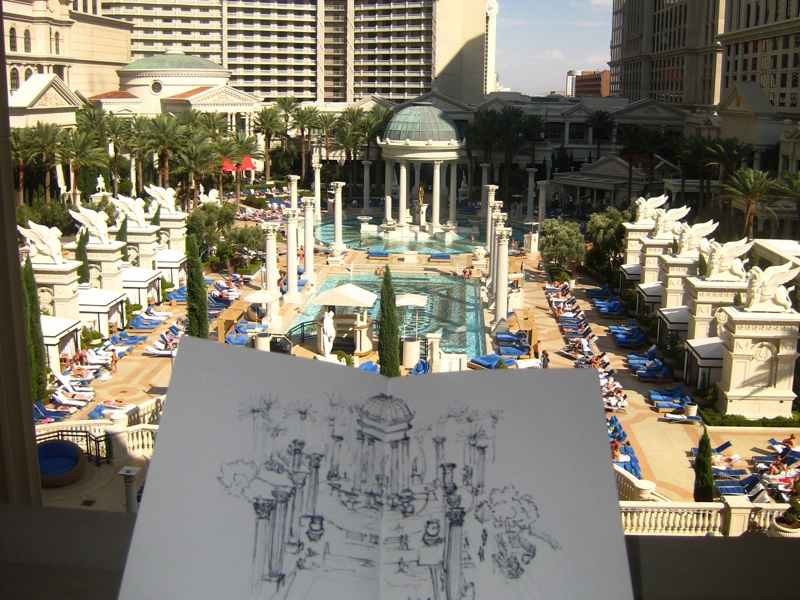 MJ SKETCHBOOK | Urban Sketching - Las Vegas - Caesars Palace pools