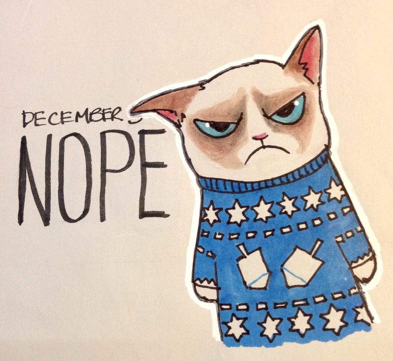 Grumpy Cat, holidays, holiday sweater, Hanukkah, funny, art