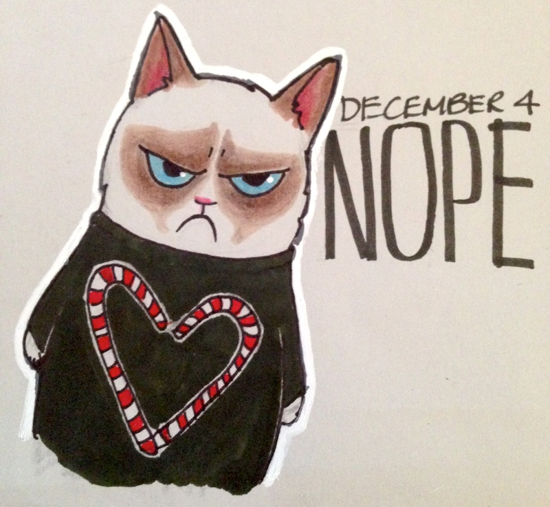 Grumpy Cat, holiday seater, Christmas, Candy Cane