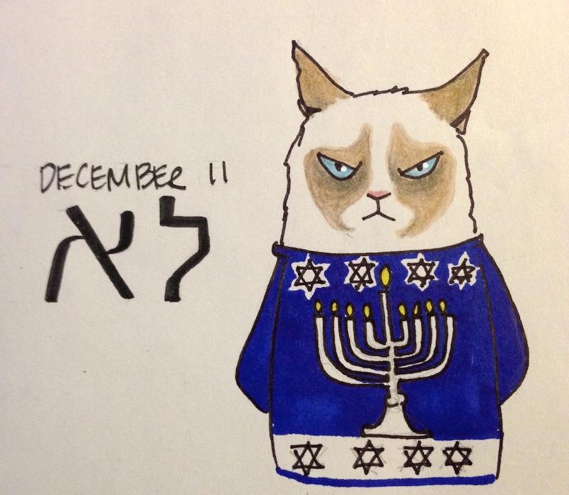 Grumpy Cat in Holiday Sweater, Hanukkah