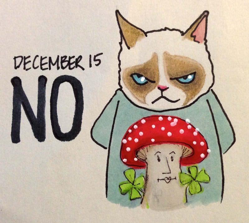 Grumpy Cat in Holiday Sweater, Christmas Mushroom