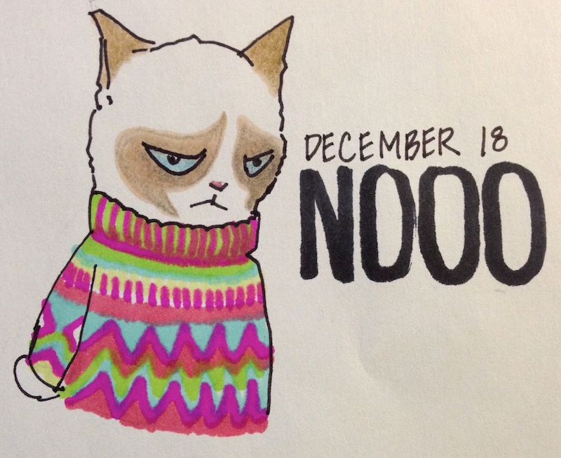 Grumpy Cat in Holiday Sweater, Groovy