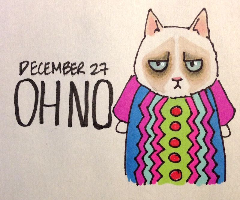 Grumpy Cat in Holiday Sweaters