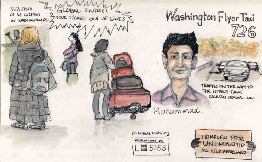 Urban Sketching, watercolour, airport, Washington