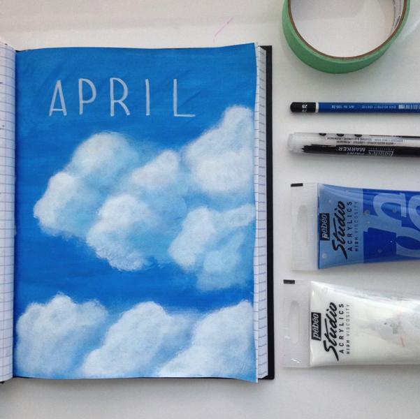 art journal april clouds